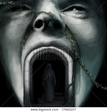Human Face Sculpture, Person In Robe Standing In Arch In Fantasy World, Digital Painting