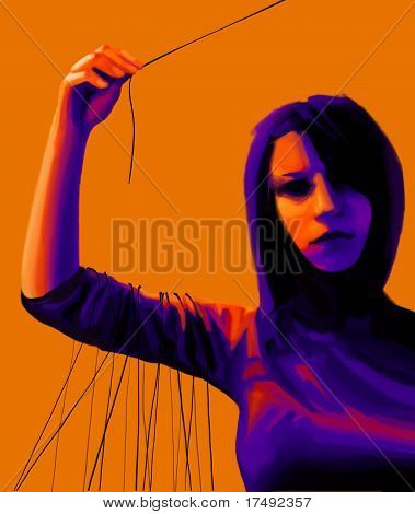 Young Woman Holding Thread, Right Choice Concept, Digital Painting