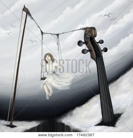 Little Girl Sitting On Violin Seesaw In Fantasy World, Digital Painting