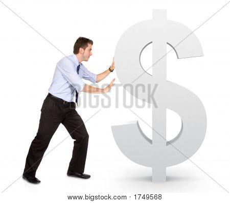 Business Man Pushing Dollar Sign