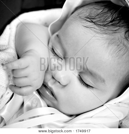 Black & White Image Of Baby Boy