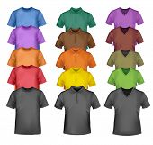 Black and colored t-shirts. Photo-realistic vector illustration.