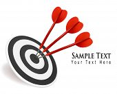 Three darts hitting a target. Success concept. Vector illustration.