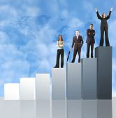 stock photo of business success  - business team on a column chart - JPG