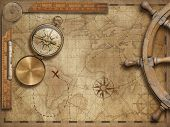 adventure and explore concept still life with old nautical world map 3d illustration (map elements a poster