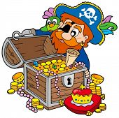 Pirate opening treasure chest - vector illustration.