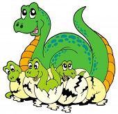 foto of dinosaur-eggs  - Dinosaur mom with cute babies  - JPG