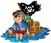 stock photo of flatboat  - Cartoon pirate sailing on raft  - JPG