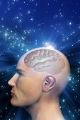 man head with brain in transparency against universe background