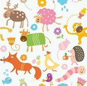 picture of caterpillar cartoon  - Seamless pattern for kids - JPG