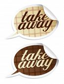 Take away stickers in form of speech bubbles.