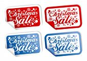 Christmas Sale stickers vector set.