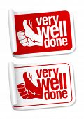 foto of thumbs-up  - Well done stickers with hand thumbs up symbol - JPG