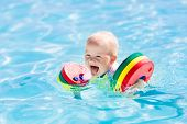 Little Baby Boy Playing In Swimming Pool poster
