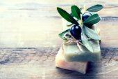 Handmade Spa Olive Oils Soap closeup. Organic Soap making. Soap bars closeup. Spa treatments, skin c poster