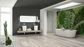 Minimalist White And Gray Bathroom With Vertical And Succulent Garden, Wooden Floor And Pebbles, Hot poster