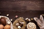Happy Easter. Easter Eggs And Easter Decoration On The Wooden Table poster