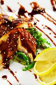 Japanese Cuisine - Salad with Sliced Fish and Seaweed. Garnished with Nuts Sauce and Lemon. Topped w