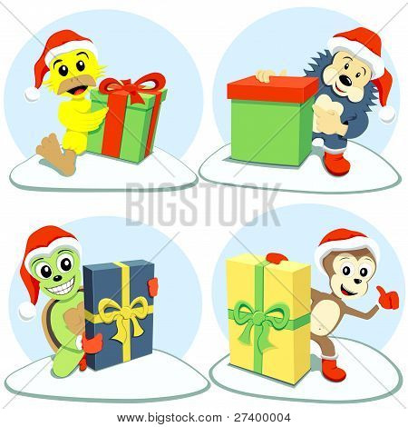 merry christmas cartoon animals