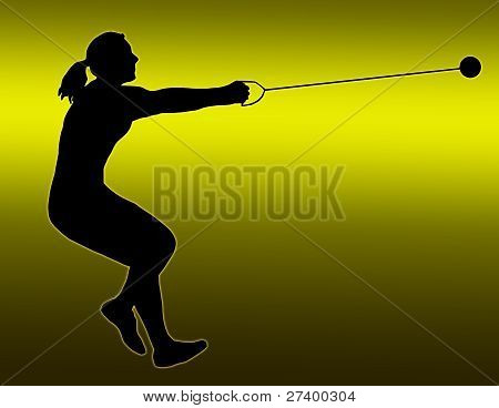 Green Gold Back Ladies Hammer Thrower