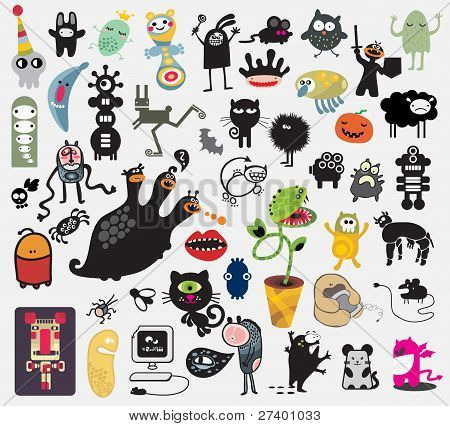 Big set of different cute monsters.
