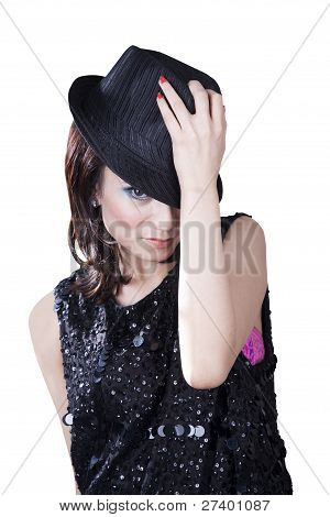 Pretty Caucasian Woman Wearing Fedora