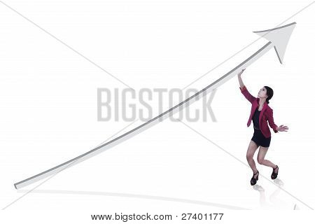 Businesswoman With A Line Chart