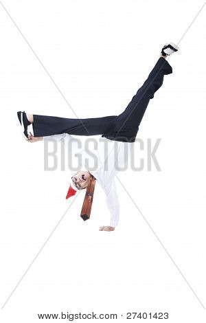 Businessman With Christmas Hat Dancing