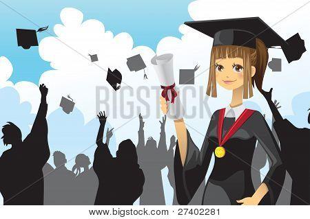 Graduation Girl Holding Diploma
