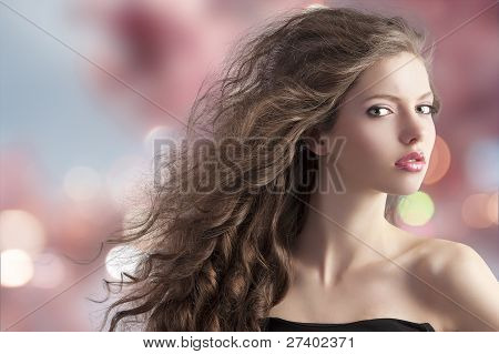Brunette On Bokeh Background