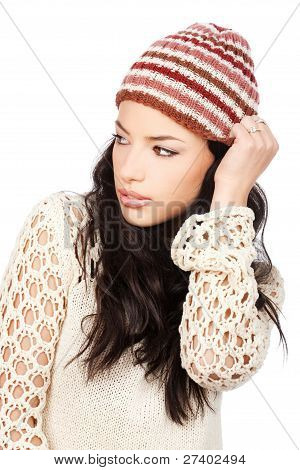 Pretty Black Hair Woman Holding Her Cap