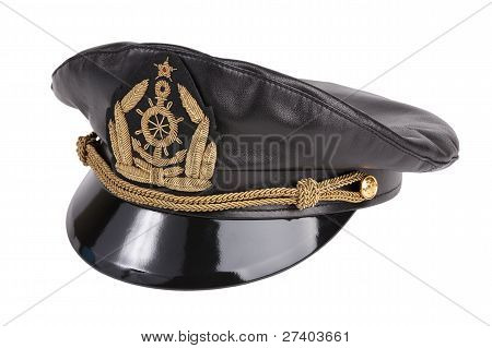 Black Navy Cap With The Golden Emblem Of An Anchor