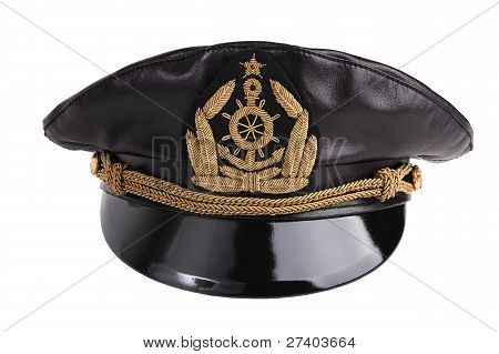 Navy Black Leather Cap With An Emblem
