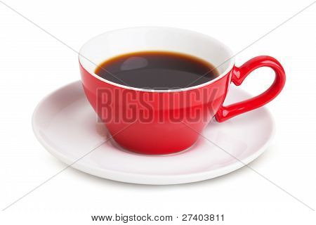 Red Cup With Instant Coffee On A White Saucer