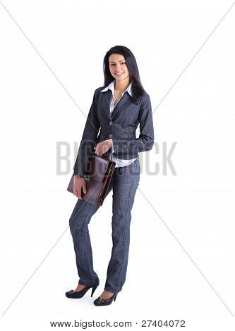 Young stylish business woman with briefcase isolated on white in full body.