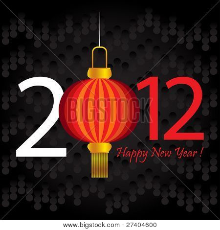 2012 Chinese New Year lantern greeting card or background.