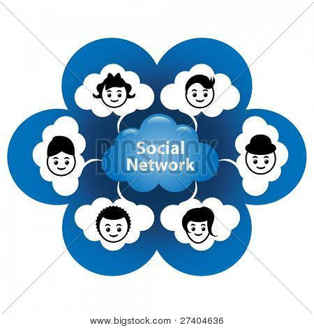 """Cloud computing concept. Social networking via the """"Cloud"""" or the internet."""