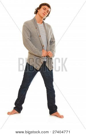 Full Length Portrait Of Guy Posing On White Background