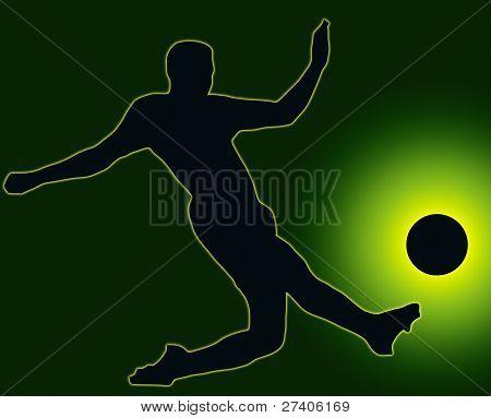 Green Back Sport Silhouette Soccer Player Kicking Ball