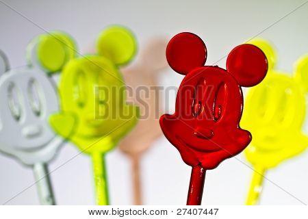 five colorful plastic mice