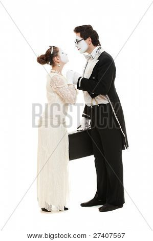 full length portrait of mimes over white background