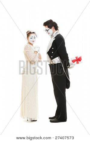 portrait of sweethearts mimes. isolated on white background