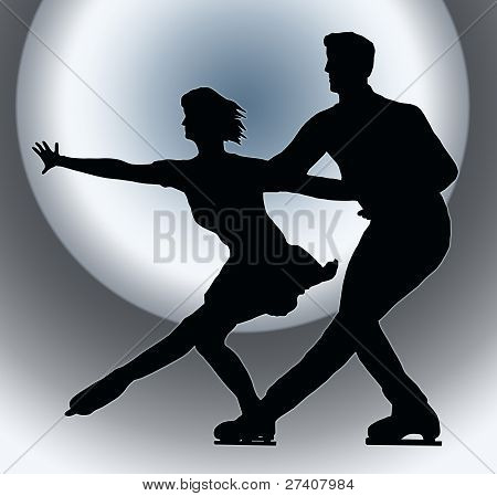 Spotlight Back Silhouette Ice Skater Couple Side By Side