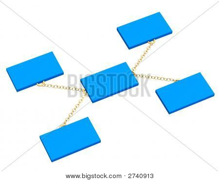3D Blue Boxes, Connected By A Gold Circuit