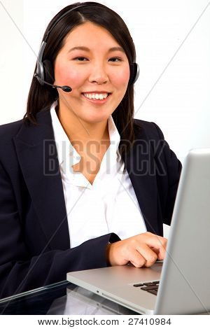 Businesswoman With Headset Microphone