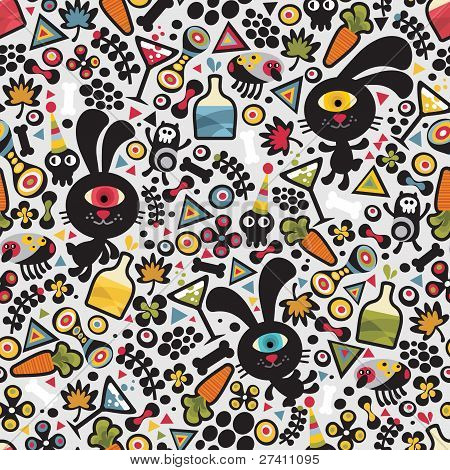 Cute monsters rabbit seamless pattern.