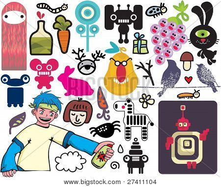 Mix of different vector images and icons. vol.20