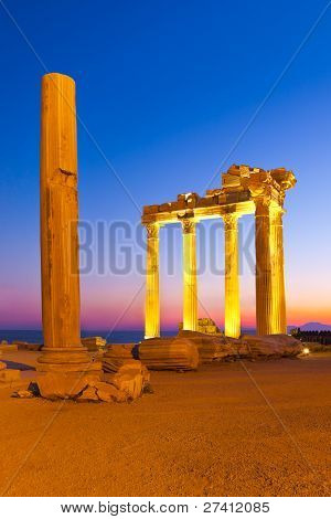 Old Ruins In Side, Turkey At Sunset