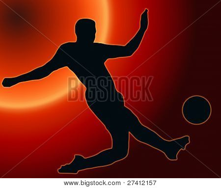 Sunset Back Sport Silhouette Soccer Player Kicking Ball