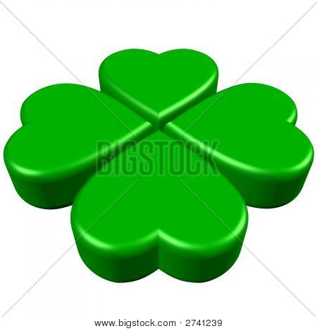 Green Clover With 4 Leaves